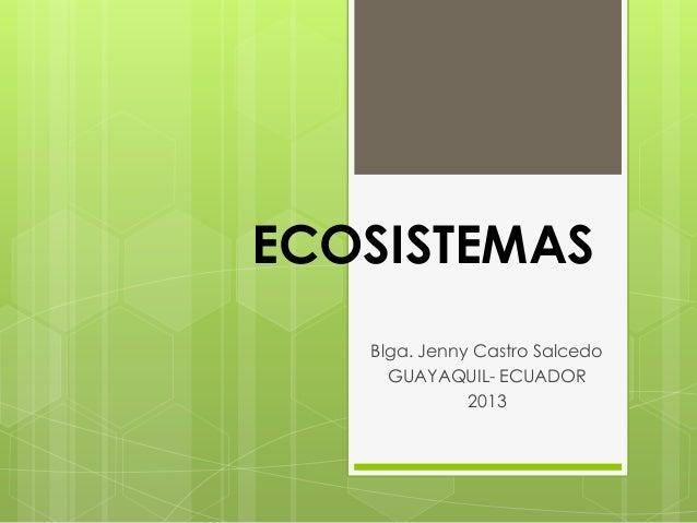 ECOSISTEMASBlga. Jenny Castro SalcedoGUAYAQUIL- ECUADOR2013