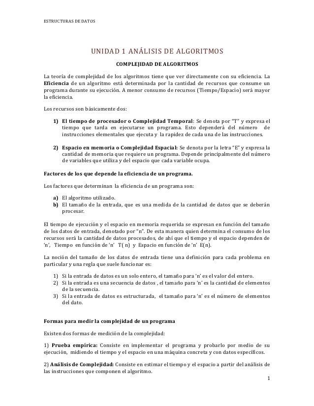 ESTRUCTURAS DE DATOS                   UNIDAD 1 ANÁLISIS DE ALGORITMOS                              COMPLEJIDAD DE ALGORIT...