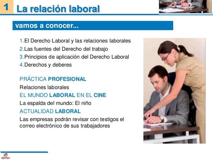 1 La relación laboral  vamos a conocer...   1.El Derecho Laboral y las relaciones laborales   2.Las fuentes del Derecho de...