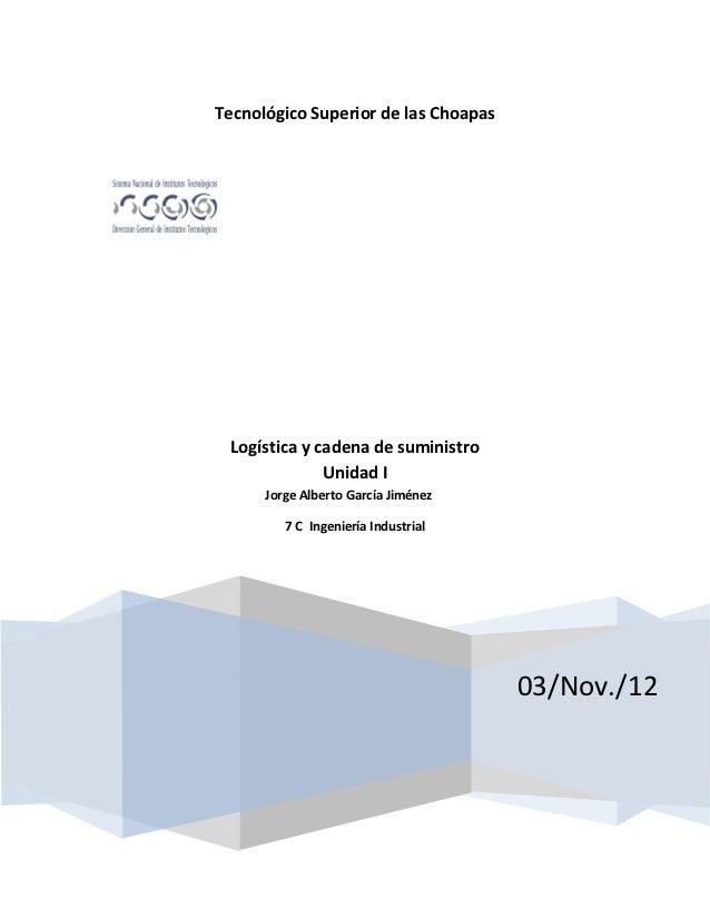 Tecnológico Superior de las Choapas Logística y cadena de suministro              Unidad I      Jorge Alberto García Jimén...
