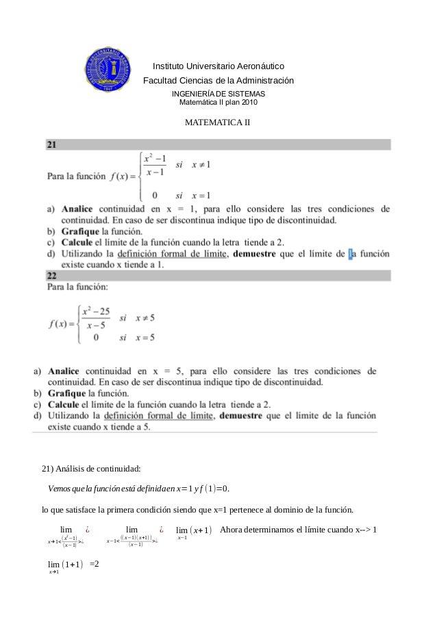 Instituto Universitario Aeronáutico Facultad Ciencias de la Administración INGENIERÍA DE SISTEMAS Matemática II plan 2010 ...