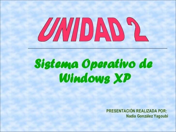 Sistema Operativo de     Windows XP            PRESENTACIÓN REALIZADA POR:                    Nadia González Yagoubi