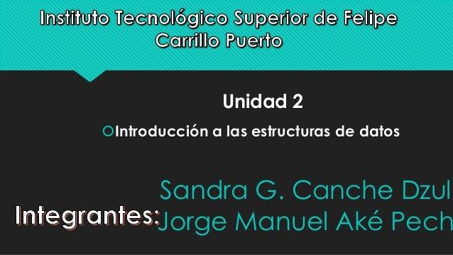 Unidad 2  Introducción a las estructuras de datos  Sandra G. Canche Dzul  Jorge Manuel Aké Pech