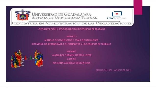 ORGANIZACIÓN Y COORDINACIÓN DE EQUIPOS DE TRABAJO UNIDAD 1 MANEJO DE CONFLICTOS Y TOMA DE DECISIONES ACTIVIDAD DE APRENDIZ...