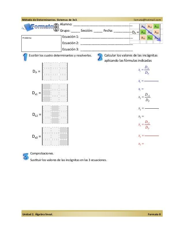 Método de Determinantes. Sistemas de 3x3.                                            licmata@hotmail.com                  ...
