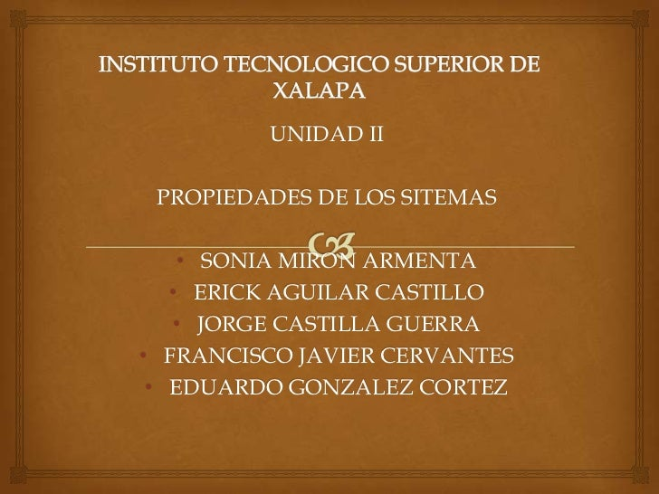 UNIDAD II PROPIEDADES DE LOS SITEMAS    • SONIA MIRON ARMENTA   • ERICK AGUILAR CASTILLO   • JORGE CASTILLA GUERRA• FRANCI...