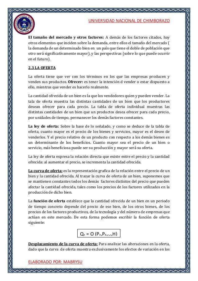 UNIVERSIDAD NACIONAL DE CHIMBORAZOELABORADO POR: MABRYSUEl tamaño del mercado y otros factores: A demás de los factores ci...