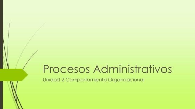 Procesos Administrativos Unidad 2 Comportamiento Organizacional