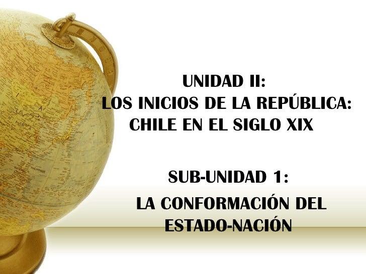 UNIDAD II:LOS INICIOS DE LA REPÚBLICA:   CHILE EN EL SIGLO XIX       SUB-UNIDAD 1:   LA CONFORMACIÓN DEL      ESTADO-NACIÓN