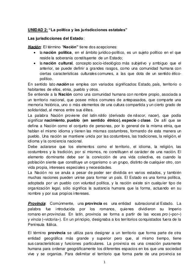 """1 UNIDAD 2: """"La política y las jurisdicciones estatales"""" Las jurisdicciones del Estado: Nación: El término """"Nación"""" tiene ..."""