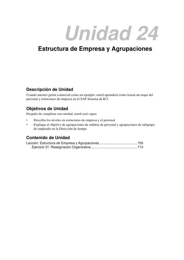 Unidad 24         Estructura de Empresa y AgrupacionesDescripción de UnidadUsando nuestro guión comercial como un ejemplo,...