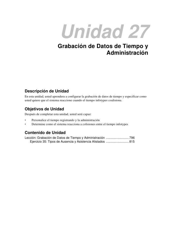 Unidad 27                          Grabación de Datos de Tiempo y                                          AdministraciónD...