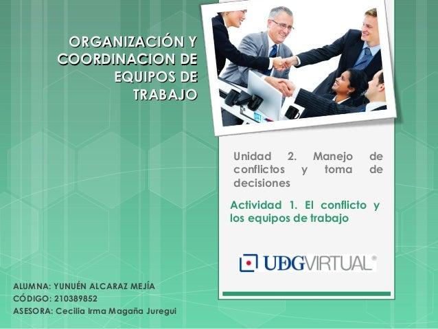 Actividad 1. El conflicto y los equipos de trabajo Unidad 2. Manejo de conflictos y toma de decisiones ALUMNA: YUNUÉN ALCA...
