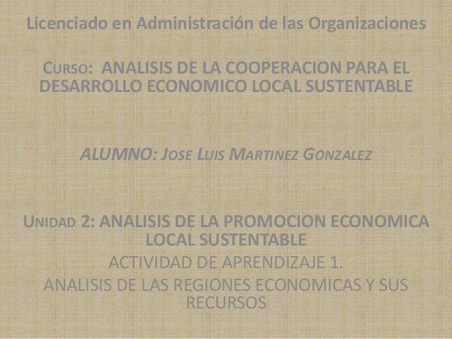 Licenciado en Administración de las Organizaciones CURSO: ANALISIS DE LA COOPERACION PARA EL DESARROLLO ECONOMICO LOCAL SU...
