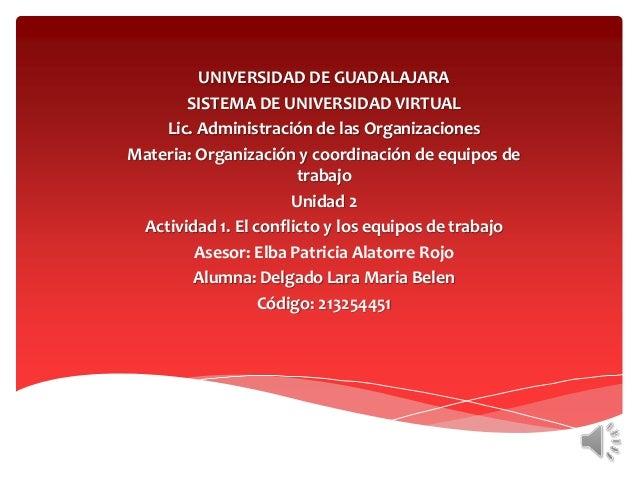 UNIVERSIDAD DE GUADALAJARA SISTEMA DE UNIVERSIDAD VIRTUAL Lic. Administración de las Organizaciones Materia: Organización ...