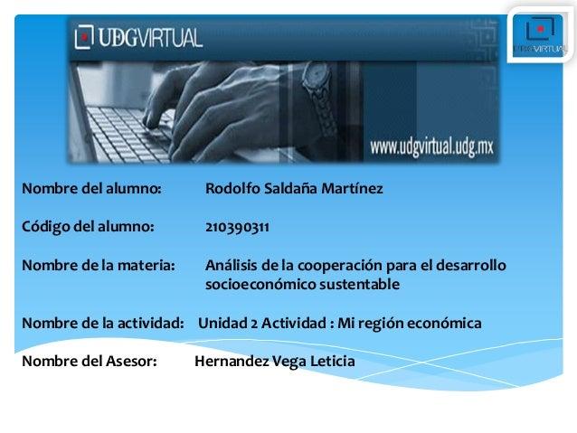 Nombre del alumno:  Rodolfo Saldaña Martínez  Código del alumno:  210390311  Nombre de la materia:  Análisis de la coopera...