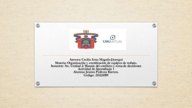 Asesora: Cecilia Irma Magaña Jáuregui Materia: Organización y coordinación de equipos de trabajo. Semestre: 5to. Unidad 2:...