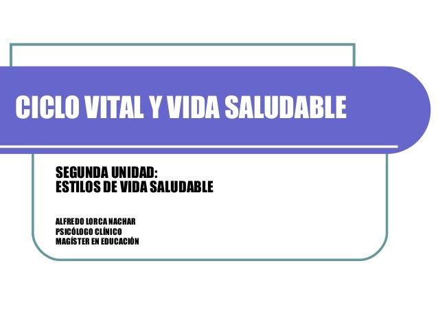 CICLO VITAL Y VIDA SALUDABLE SEGUNDA UNIDAD: ESTILOS DE VIDA SALUDABLE ALFREDO LORCA NACHAR PSICÓLOGO CLÍNICO MAGÍSTER EN ...