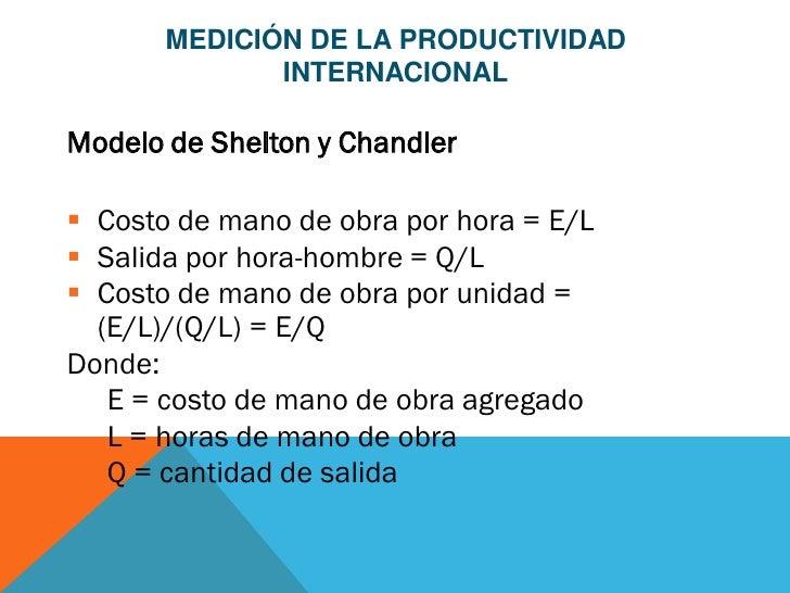 MEDICIÓN DE LA PRODUCTIVIDAD              INTERNACIONALModelo de Shelton y Chandler Costo de mano de obra por hora = E/L...