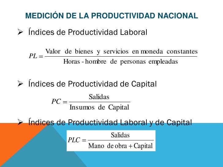 MEDICIÓN DE LA PRODUCTIVIDAD NACIONAL Índices de Productividad Laboral        Valor de bienes y servicios en moneda const...