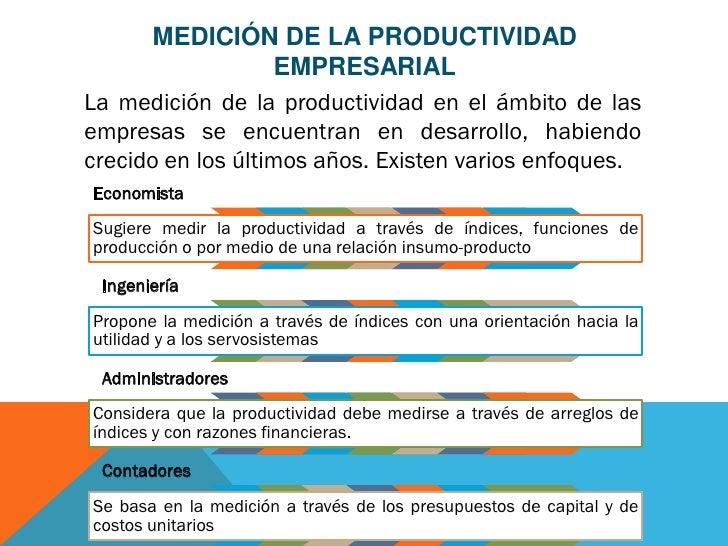 MEDICIÓN DE LA PRODUCTIVIDAD                   EMPRESARIALLa medición de la productividad en el ámbito de lasempresas se e...