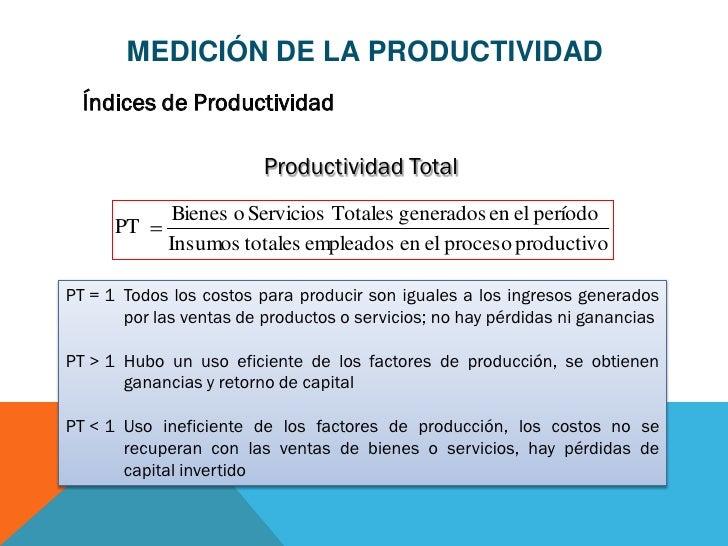 MEDICIÓN DE LA PRODUCTIVIDAD  Índices de Productividad                         Productividad Total              Bienes o S...