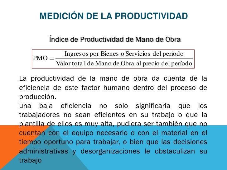 MEDICIÓN DE LA PRODUCTIVIDAD          Índice de Productividad de Mano de Obra               Ingresos por Bienes o Servicio...