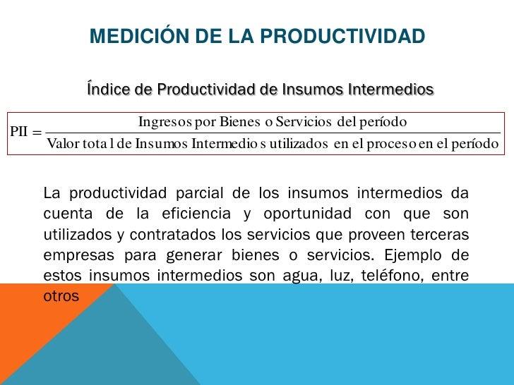 MEDICIÓN DE LA PRODUCTIVIDAD            Índice de Productividad de Insumos Intermedios                       Ingresos por ...