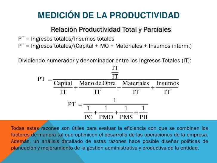 MEDICIÓN DE LA PRODUCTIVIDAD                Relación Productividad Total y Parciales   PT = Ingresos totales/Insumos total...