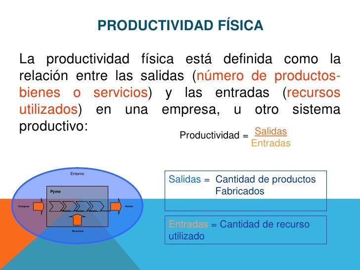 PRODUCTIVIDAD FÍSICALa productividad física está definida como larelación entre las salidas (número de productos-bienes o ...