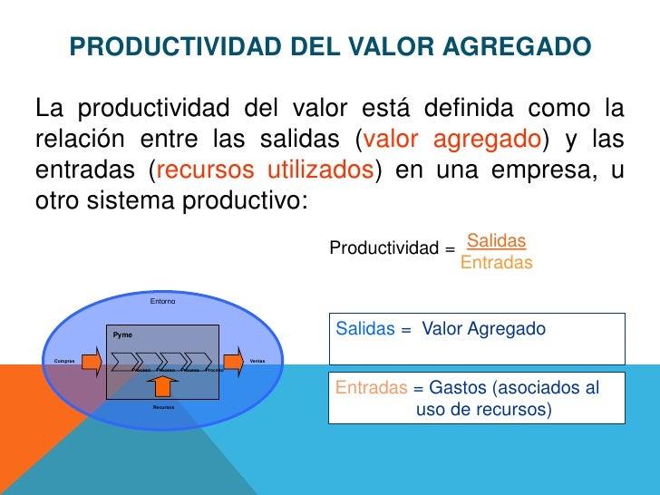 PRODUCTIVIDAD DEL VALOR AGREGADOLa productividad del valor está definida como larelación entre las salidas (valor agregado...