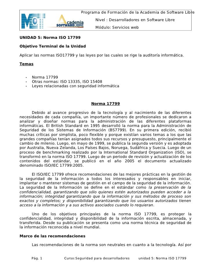 Programa de Formación de la Academia de Software Libre                                          Nivel : Desarrolladores en...