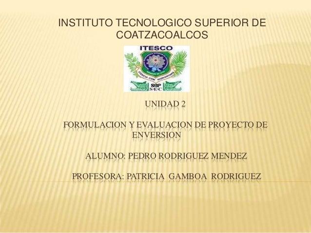 INSTITUTO TECNOLOGICO SUPERIOR DE          COATZACOALCOS               UNIDAD 2FORMULACION Y EVALUACION DE PROYECTO DE    ...
