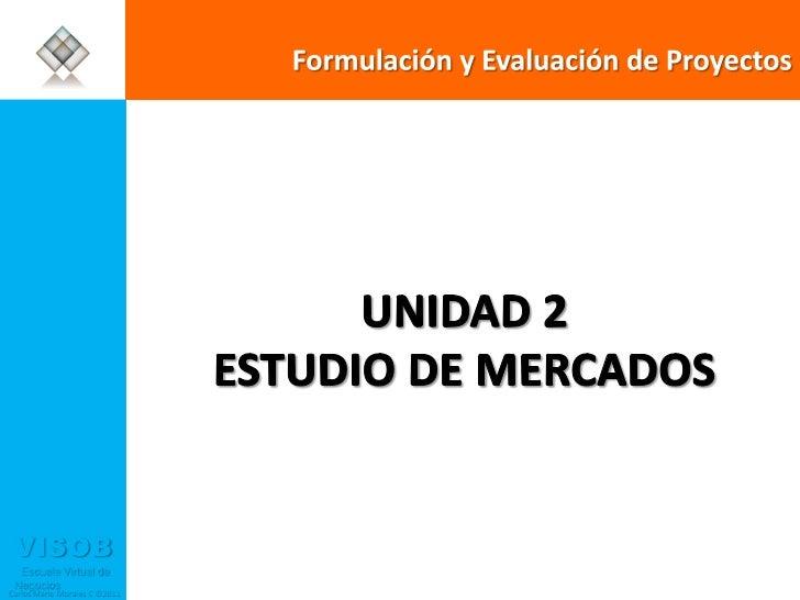Formulación y Evaluación de Proyectos  UNIDAD 2 ESTUDIO DE MERCADOS