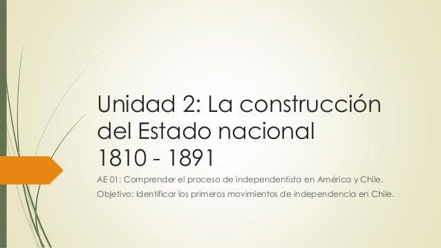 Unidad 2: La construcción del Estado nacional 1810 - 1891 AE 01: Comprender el proceso de independentista en América y Chi...