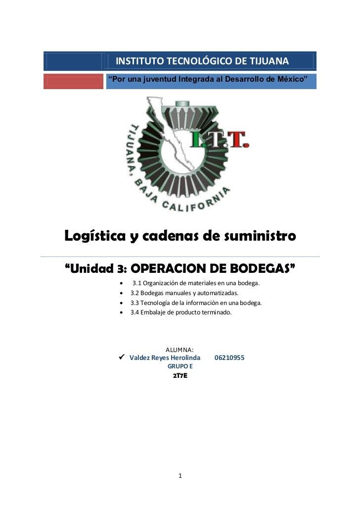 """INSTITUTO TECNOLÓGICO DE TIJUANA       """"Por una juventud Integrada al Desarrollo de México""""     Logística y cadenas de sum..."""