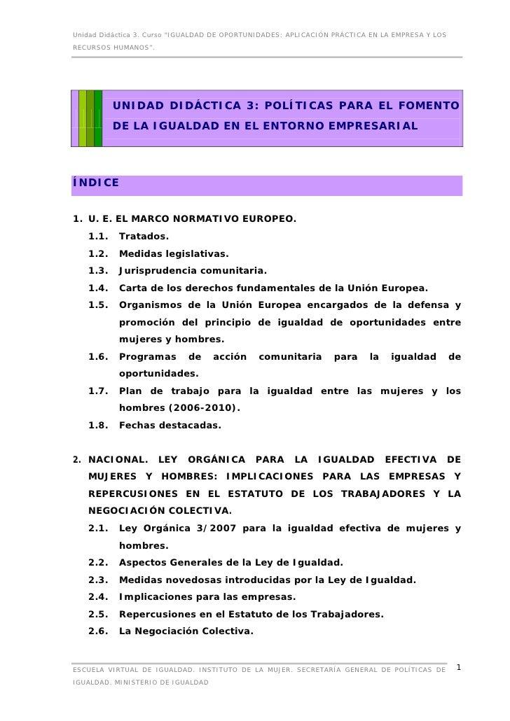 """Unidad Didáctica 3. Curso """"IGUALDAD DE OPORTUNIDADES: APLICACIÓN PRÁCTICA EN LA EMPRESA Y LOSRECURSOS HUMANOS"""".          U..."""