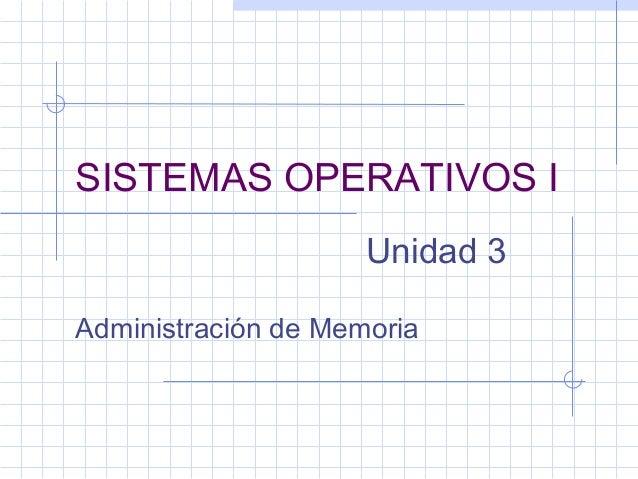 SISTEMAS OPERATIVOS I                     Unidad 3Administración de Memoria