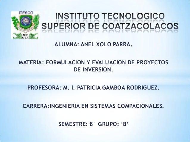ALUMNA: ANEL XOLO PARRA.MATERIA: FORMULACION Y EVALUACION DE PROYECTOSDE INVERSION.PROFESORA: M. I. PATRICIA GAMBOA RODRIG...