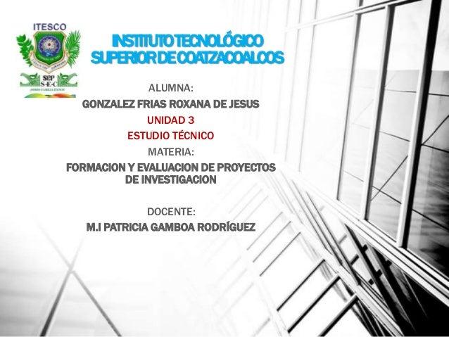 INSTITUTOTECNOLÓGICOSUPERIORDECOATZACOALCOSALUMNA:GONZALEZ FRIAS ROXANA DE JESUSUNIDAD 3ESTUDIO TÉCNICOMATERIA:FORMACION Y...