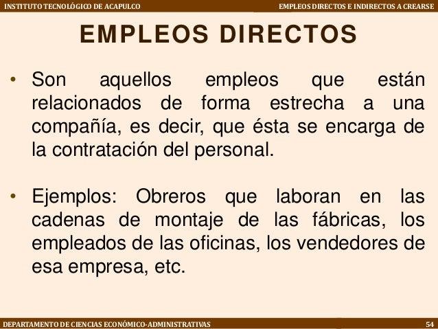 empleos directos e indirectos