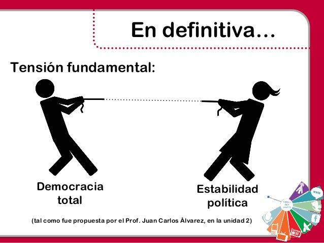Democracia total Estabilidad política En definitiva… (tal como fue propuesta por el Prof. Juan Carlos Álvarez, en la unida...
