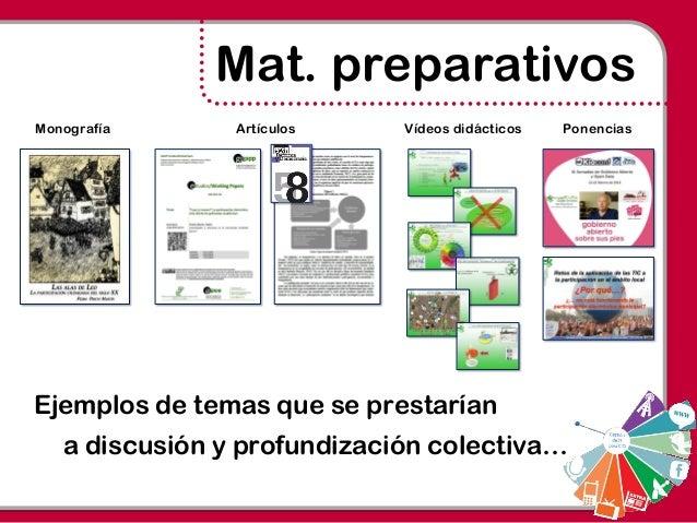 Mat. preparativos Ejemplos de temas que se prestarían a discusión y profundización colectiva… Monografía Artículos Vídeos ...