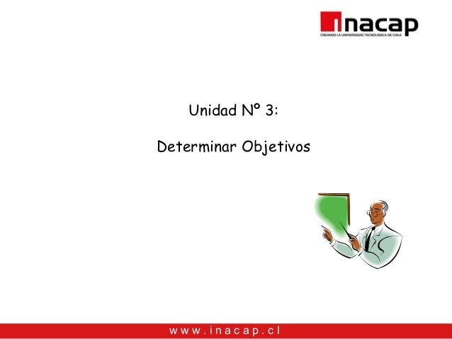 Unidad Nº 3:Determinar Objetivos www.inacap.cl