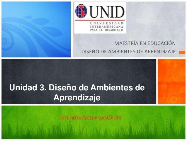 MAESTRÍA EN EDUCACIÓN                     DISEÑO DE AMBIENTES DE APRENDIZAJEUnidad 3. Diseño de Ambientes de           Apr...