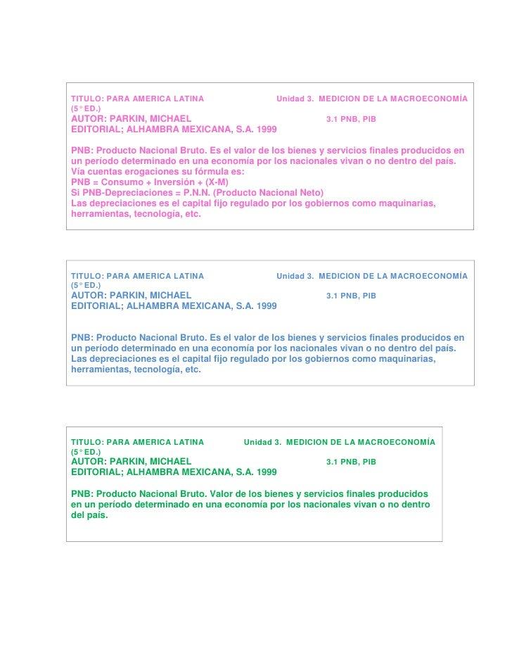 TITULO: PARA AMERICA LATINA                               Unidad 3.  MEDICION DE LA MACROECONOMÍA(5° ED.)AUTOR: PARKIN, MI...
