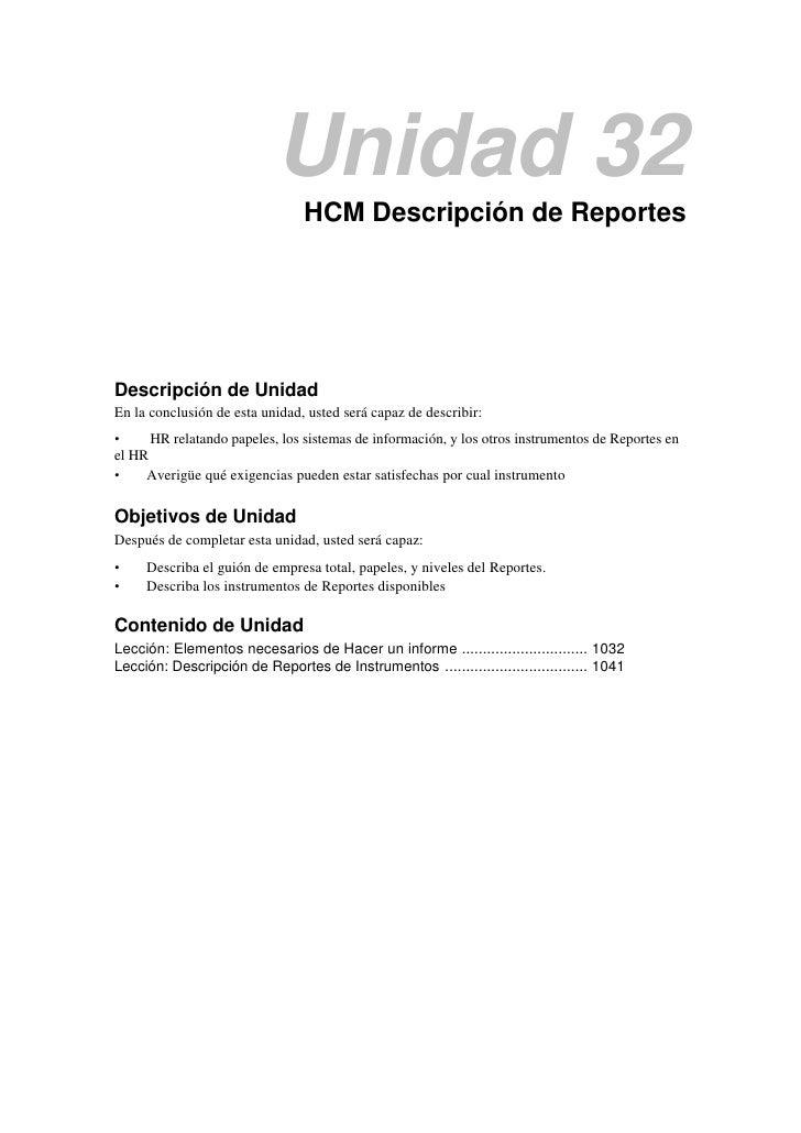 Unidad 32                                HCM Descripción de ReportesDescripción de UnidadEn la conclusión de esta unidad, ...