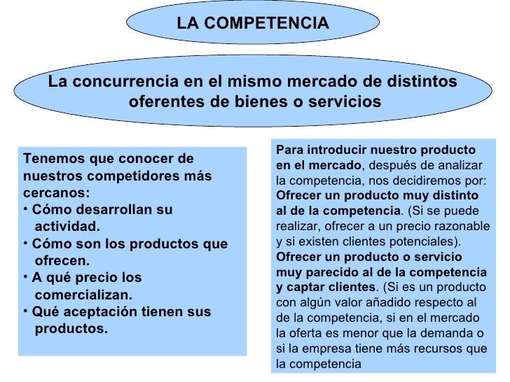 LA COMPETENCIA La concurrencia en el mismo mercado de distintos oferentes de bienes o servicios <ul><li>Tenemos que conoce...