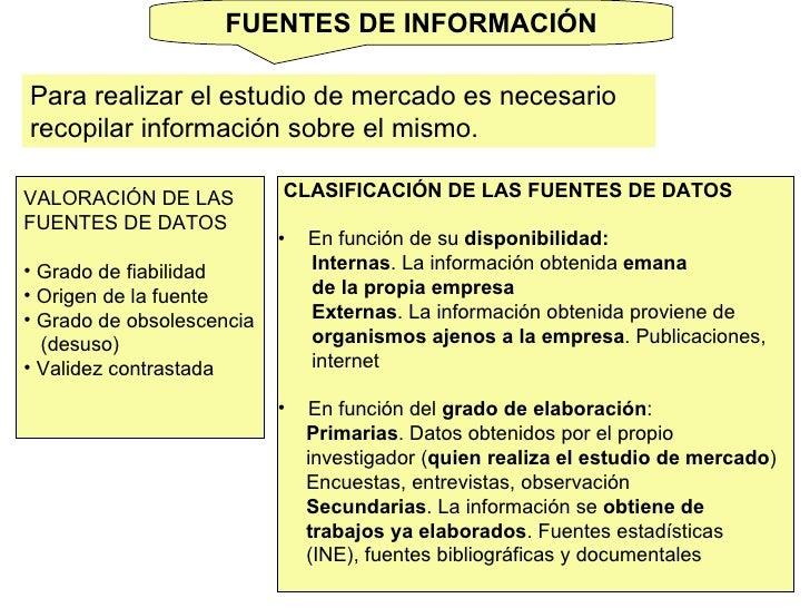 FUENTES DE INFORMACIÓN Para realizar el estudio de mercado es necesario recopilar información sobre el mismo.  <ul><li>VAL...