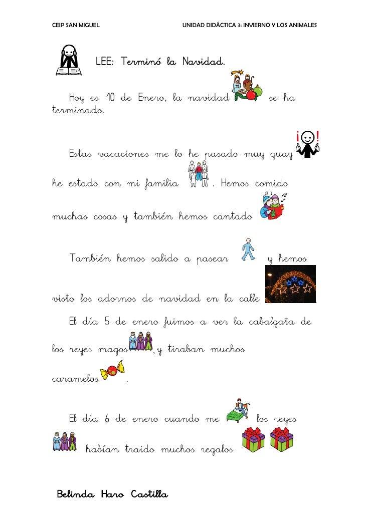 CEIP SAN MIGUEL              UNIDAD DIDÁCTICA 3: INVIERNO Y LOS ANIMALES             LEE: Terminó la Navidad.   Hoy es 10 ...